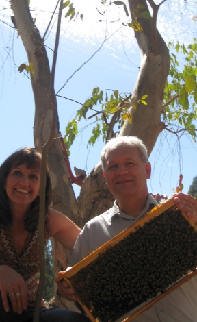 My sister and I - among the Chilean bees.