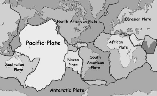 Simplified plate boundaries - now an iconic image of the Earth.