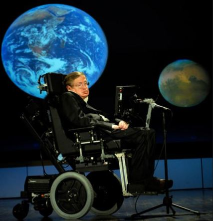 Stephen Hawking, addressing NASA, 2008. Photo credit NASA