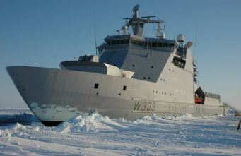 The KV Svalbard, a Norwegian Coast Guard vessel. The Royal Canadian Navy plans to use this model to build half a dozen offshore patrol vessels at $4.3 billion each. Announced in 2007, none have been built, but Canadian Prime Minister Harper revealed in September 2014 that the first ship will be called the Harry DeWolf - if it is ever constructed.