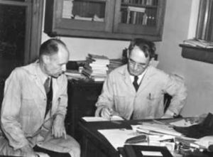 Bridgman, right, in his Harvard office.