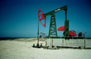 Oil well on Cuban beach