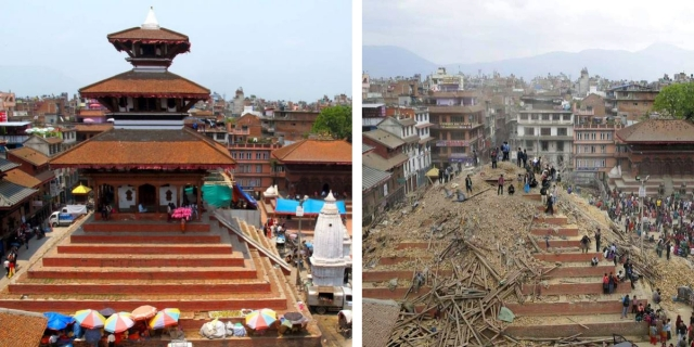 Katmandu temple: 2014, left; 2015, right