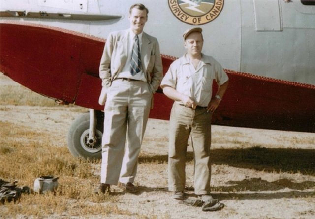Lawrence Morley, left, with pilot Fred DuVernet in front of the Geological Survey of Canada's aeromag collection plane, around 1952. (Image used with permission of the GSC)