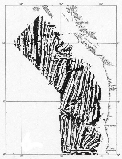 Magnetic zebra-pattern, acquired along US-Canada west coast, 1957. (Image by permission of Geological Society of America)