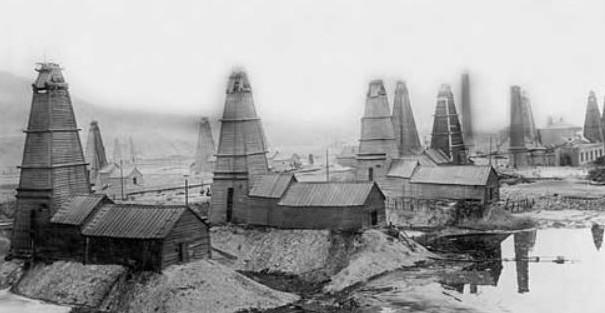 Baku, Azerbaijan oil field along the Caspian Sea, 1925