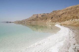 Dead Sea shoreline, 428 metres below sea level.