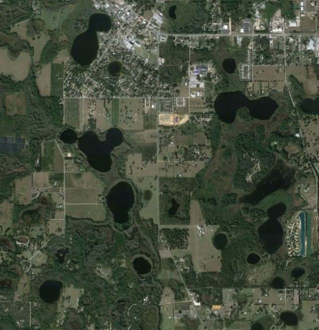 South Lake County's circular lakes. Most likely were sinkholes that opened centuries ago. Groveland is the town near the top of the map.