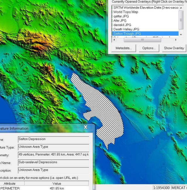 Areal extent of sub-sea-level Salton Depression, California.