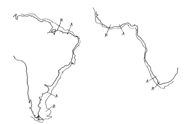 From Fit of the Contients, 1965 - part of Bullard's calculation that reconstructed Pangaea