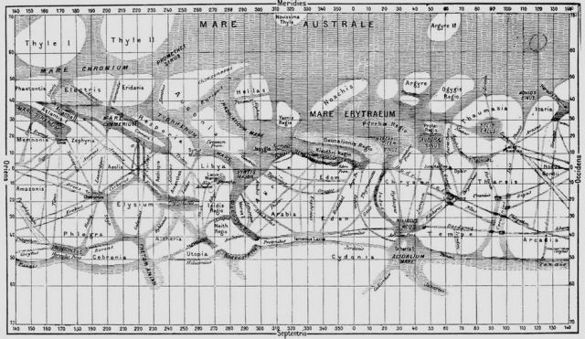 Use say channels; I say canals. Schiaparelli's 1888 Mars map.